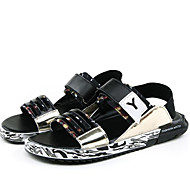 Men's Sandals Comfort Summer Fall Patent Leather Water Shoes Casual Dress Outdoor Black Under 1in