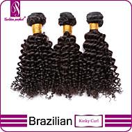 3 bundels Braziliaans haar Gekruld / Klassiek / Kinky Curly Onbehandeld haar Menselijk haar weeft Menselijk haar weeft Extensions van echt haar / Kinky krullen