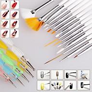1set neglebørste nail art design maleri øremærkninger beskriver pen børster bundle tool kit sæt negle styling værktøjer (20pcs / sæt)