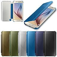 のために Samsung Galaxy ケース ケース カバー オートオン/オフ ミラー フリップ フルボディー ケース ソリッドカラー PC のために Samsung S6 edge plus S6 edge S6