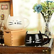 """Χαμηλού Κόστους Ποτήρια & Κούπες-300ml μαύρο και άσπρο χαριτωμένο γάτα ζώων κούπα δημιουργική κούπα νερού (5.1 """"x4.3"""" x3.7 """")"""