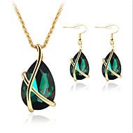 Žene Komplet nakita Viseće naušnice Ogrlice s privjeskom Kristal Sintetički Emerald Drago kamenje i kristali Kristal Pozlata od crvenog
