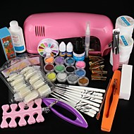 Pro Full White Cure Lamp Dryer & 12 Color UV Gel Nail Art Tools Sets Kits