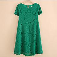 Dámské Sofistikované Jdeme ven Velké velikosti Volné Krajka Šaty Jednobarevné,Krátký rukáv Kulatý Nad kolena Polyester Léto Lehce