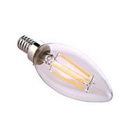 billige Stearinlyslamper med LED-YWXLIGHT® 1pc 6 W 640 lm E12 LED-lysestakepærer A60(A19) 4 LED perler COB Dekorativ Varm hvit / Naturlig hvit 110-130 V / 1 stk. / RoHs