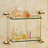 Bathroom Shelf Bathroom Gadget Contemporary Brass Glass Bathroom Shelf
