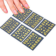 6pcs Mixing 3D Nail Art Metal Sticker