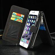 Etui Til Apple iPhone 8 iPhone 8 Plus iPhone 6 iPhone 6 Plus Kortholder Pung Med stativ Flip Fuldt etui Helfarve Hårdt ægte læder for