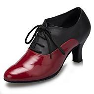 billige Sko til latindans-Kan ikke spesialtilpasses-Dame-Dansesko-Moderne-Lær Lakklær-Kubansk hæl-Svart Rød