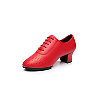cheap Modern Shoes-Women's Latin Shoes Leatherette Heel Indoor / Performance / Professional Lace-up Low Heel Non Customizable Dance Shoes Red / Silver / Gold