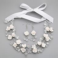 Χαμηλού Κόστους Κομψά λουλουδάτα-Γυναικεία Κρυστάλλινο Κοσμήματα Σετ - Περιλαμβάνω Λευκό Για Γάμου / Πάρτι / Ειδική Περίσταση / Επέτειος / Αρραβώνας / Δώρο