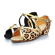 billige Sko til latindans-Dame Barne Latin Sateng Sandaler Innendørs Ytelse utendørs Profesjonell Nybegynner Trening Lav hæl Leopard Sort og Gull Kan ikke