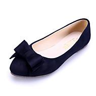 hesapli -Kadın Ayakkabı Süet Bahar Yaz Sonbahar Kış Rahat Düz Topuk Fiyonk Uyumluluk Günlük Elbise Siyah Mavi Pembe Kırmızı Şarap