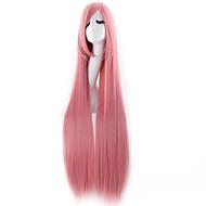 Perucas sintéticas / Perucas de Fantasia Liso Cabelo Sintético Rosa Peruca Mulheres Muito longo Peruca de Halloween / Peruca de carnaval