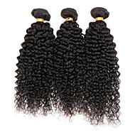 Cabelo Humano Cabelo Peruviano Cabelo Humano Ondulado Kinky Curly Cacheado Extensões de cabelo 3 Peças Preto Cor Natural