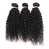 Echthaar Peruanisches Haar Menschenhaar spinnt Kinky Curly Ringellocken Haarverlängerungen 3 Stück Schwarz Naturfarbe