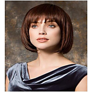 女性 人工毛ウィッグ キャップレス ショート丈 ストレート Brown ボブスタイル・ヘアカット ハロウィンウィッグ カーニバルウィッグ コスチュームウィッグ