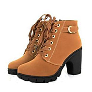 cheap -Women's Shoes Leatherette Fall / Winter Combat Boots Chunky Heel 20.32-25.4 cm / Mid-Calf Boots Lace-up Black / Yellow / Green