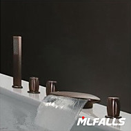 cheap Bathroom Sink Faucets-Antique Roman Tub Waterfall Handshower Included Ceramic Valve Five Holes Three Handles Five Holes Antique Bronze , Shower Faucet Bathtub