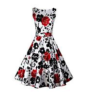 Damer Vintage I-byen-tøj A-linje Kjole Blomstret,Bateau-hals Knælang Uden ærmer Bomuld Alle årstider Alm. taljede Mikroelastisk Medium