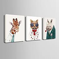 Rechthoekig Modern/Hedendaags Wandklok , Dieren Canvas35 x 50cm(14inchx20inch)x3pcs/ 40 x 60cm(16inchx24inch)x3pcs/ 50 x