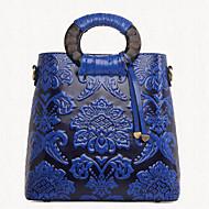 baratos Bolsas Tote-Mulheres Bolsas PU Tote / Bolsa de Ombro Floral Vermelho / Verde / Azul