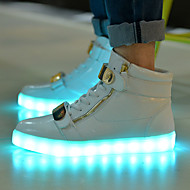 cheap Women's Sneakers-Women's Shoes Patent Leather Spring Fall Comfort Light Up Shoes Flat Heel Zipper Lace-up for Athletic Casual Dress White Black Red Blue