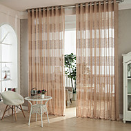 cheap Sheer Curtains-Grommet Top Pencil Pleat Two Panels Curtain Modern Designer Country, Hollow Out Curve Geometic Living Room Polyester Material Sheer