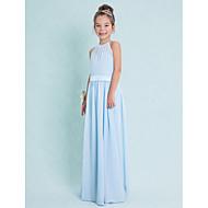מעטפת \ עמוד קולר עד הריצפה שיפון שמלה לשושבינות הצעירות  עם סרט על ידי LAN TING BRIDE® / טבעי