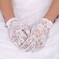 cheap Wedding Gloves-Lace Polyester Elastic Satin Wrist Length Glove Classical Bridal Gloves With Solid