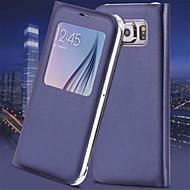 halpa -Varten Samsung Galaxy S7 Edge Ikkunalla / AutomAutomaattinen auki/kiinni / Flip Etui Kokonaan peittävä Etui Yksivärinen Tekonahka Samsung