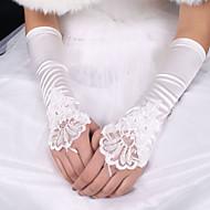 billiga Brudhandskar-Siden Elastisk satäng Armbågslängd Handske Brudhandske With Rosett