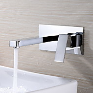 Contemporary Wall Mounted Rotatable with  Ceramic Valve Two Holes Single Handle Two Holes for  Chrome , Bathroom Sink Faucet