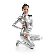 ieftine -Costume Zentai Costum Ninja Zentai Costume Cosplay Argintiu Mată Leotard / Onesie Zentai Spandex Metalic strălucitor Bărbați Pentru femei
