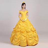 Prinsesse Eventyr Cosplay Kostumer Film Cosplay Gul Nederdel Hovedstykke Handsker Underkjole Bånd Jul Halloween Nytår Satin