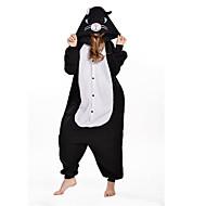 Kigurumi-pyjamas Kat Onesie-pyjamas Kostume Polarfleece Sort Cosplay Til Voksne Nattøj Med Dyr Tegneserie Halloween Festival / Højtider