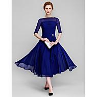 Χαμηλού Κόστους -Γραμμή Α Bateau Neck Κάτω από το γόνατο Σιφόν Φόρεμα Μητέρας της Νύφης με Πιασίματα με LAN TING BRIDE® / Ψευδαίσθηση