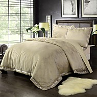 Yarn Dyed Poly Silk Bamboo cotton Jacquard Bedding Set Gold 1 duvet cover and 2pillow case