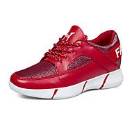 Dames Sneakers Lente Herfst Comfortabel Tule Casual Platte hak Veters Zwart Rood Wit Overige