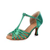 baratos Sapatilhas de Dança-Mulheres Sapatos de Dança Latina Tecido elástico Sandália / Salto / Têni Presilha / Cadarço de Borracha / Vazados Salto Carretel Personalizável Sapatos de Dança Preto / Bege / Verde / Couro