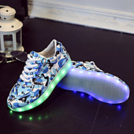 baratos Sapatos de Menino-Para Meninos Para Meninas Tênis Tênis com LED Primavera Verão Outono Courino Casual Cadarço LED Rasteiro Cinzento Rosa Azul Azul Real