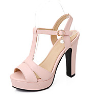 cheap Small Size Shoes-Women's Shoe Chunky Heel Peep Toe / Platform / T-Strap Sandals Wedding / Party & Evening Beige/Green/Pink