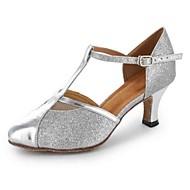 Χαμηλού Κόστους Παπούτσια χορού-Γυναικεία Παπούτσια χορού λάτιν / Μοντέρνα παπούτσια / Παπούτσια σάλσα Δερματίνη Τακούνια Αγκράφα Προσαρμοσμένο τακούνι Εξατομικευμένο Παπούτσια Χορού Μαύρο / Ασημί / Χρυσό / Εξάσκηση