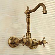 halpa -Perinteinen Integroitu Vesiputous Keraaminen venttiili Yksi reikä Kaksi kahvaa kaksi reikää Antiikkimessinki , Kitchen Faucet