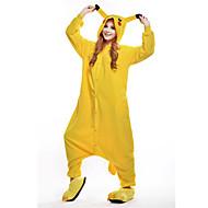 Kigurumi-pyjamas Pika Pika Onesie-pyjamas Kostume Polarfleece Gul Cosplay Til Voksne Nattøj Med Dyr Tegneserie Halloween Festival /