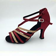 "Women's Ballroom Satin Sandal Heel Indoor Performance Practice Beginner Professional Stiletto Heel White Almond Fuchsia 2"" - 2 3/4"""