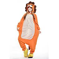 Kigurumi Pyjamas Løve Heldragtskostumer Pyjamas Kostume Polarfleece Oransje Cosplay Til Voksne Nattøj Med Dyr Tegneserie Halloween
