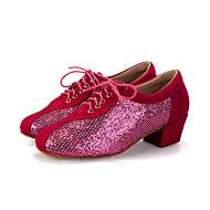 baratos Sapatilhas de Dança-Mulheres Sapatos de Dança Moderna Flocagem / Glitter Salto / Têni Lantejoulas / Gliter com Brilho / Cadarço Salto Robusto Personalizável Sapatos de Dança Pêssego / Preto / Vermelho / Espetáculo