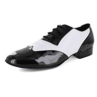 Men's Modern Leatherette Flat Practice Lace-up Flat Heel Black and White Black Customizable