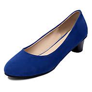 baratos Sapatos de Tamanho Pequeno-Feminino Para Meninas Courino Primavera Verão Outono Inverno Casual Social Salto Grosso Preto Bege Vermelho Azul 2,5 a 4,5 cm